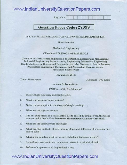 CE6306 Strength of Materials Nov Dec 2015 Question Paper