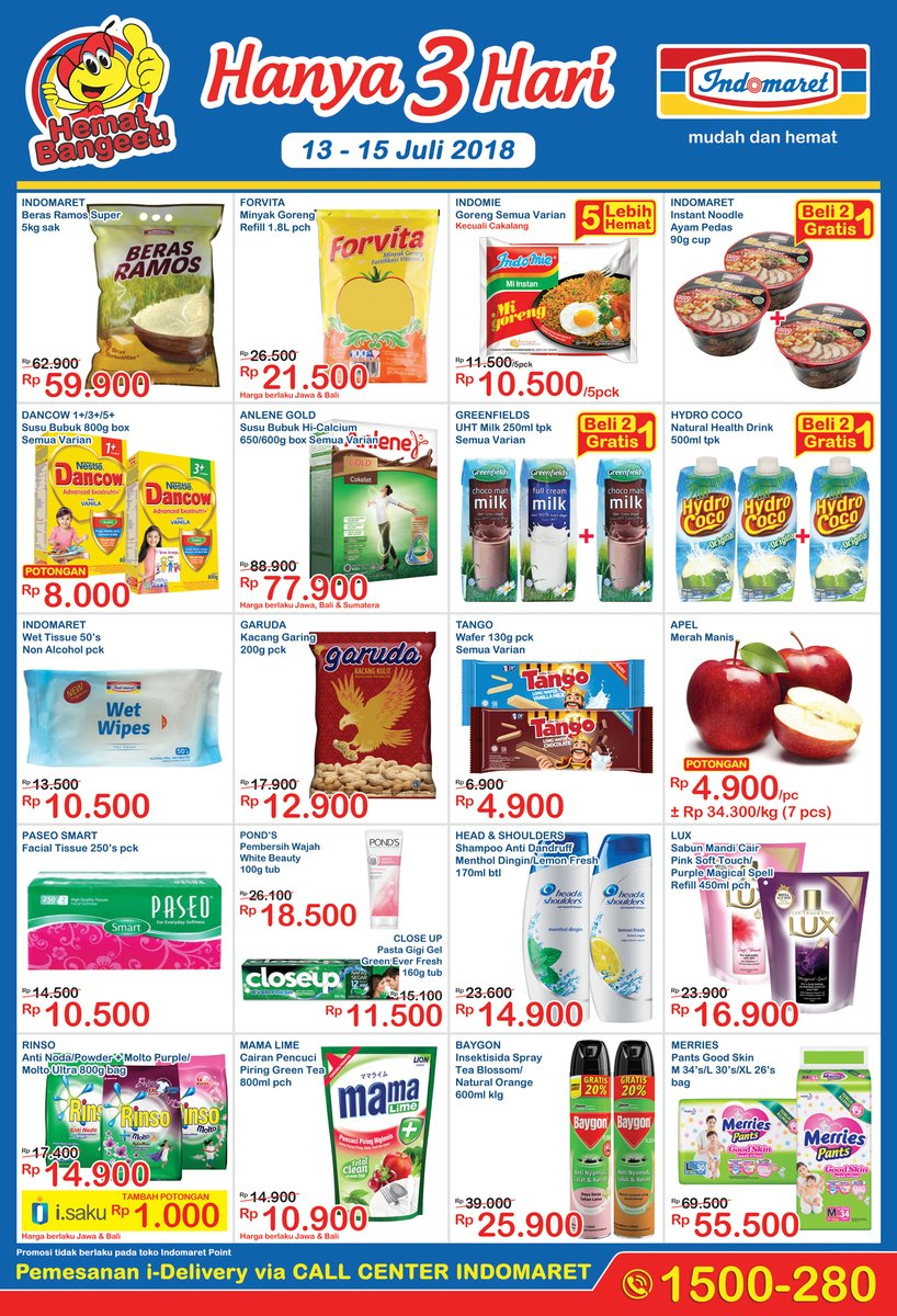 Indomaret - Katalog Promo 3 Hari Periode 13 - 15 Juli 2018