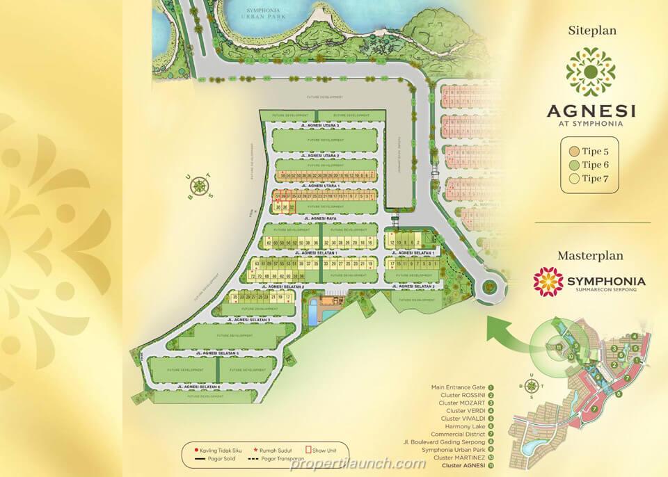 Lokasi dan Siteplan Cluster Agnesi Symphonia Summarecon Serpong