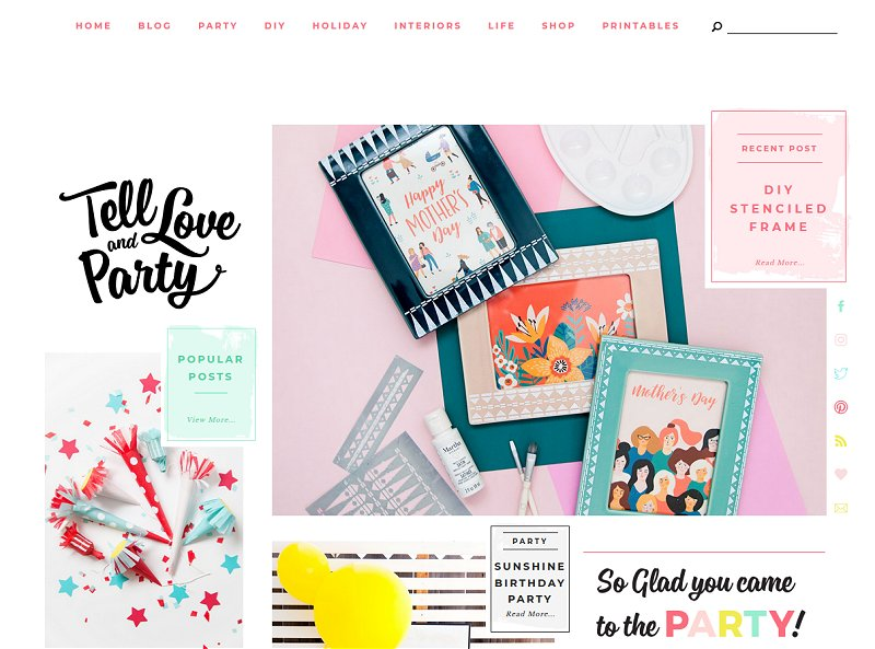 Tell Love and Party | Super cute blog design inspiring me right now!