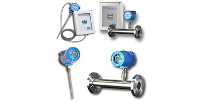 thermal mass flow meters for gases insertion and in-line