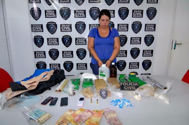 Mulher é presa com drogas avaliadas em R$ 200 mil