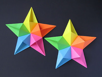 Origami, top view, Stella diamante e variante - Diamond star and variant by Francesco Guarnieri