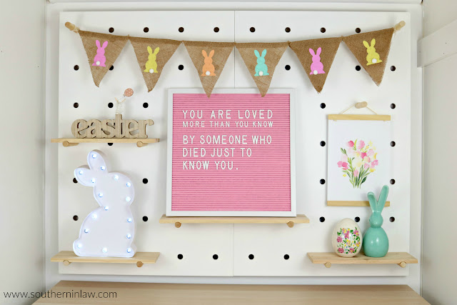 Easter Decor Inspiration - Easter Peg Board Styling with Hessian Bunny Bunting, Felt Letter Board, Marquee Light and Ceramic Bunnies - Best Places to Buy Easter Decor in Sydney Australia