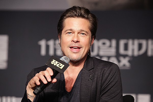 Brad Pitt in a press conference in Seoul
