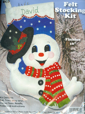 Snowman with Top Hat Felt Stocking Kit