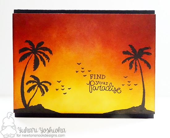 Palm Tree Sunset Card by Yukari Yoshioka | Paradise Palms stamp set by Newton's Nook Designs #newtonsnook