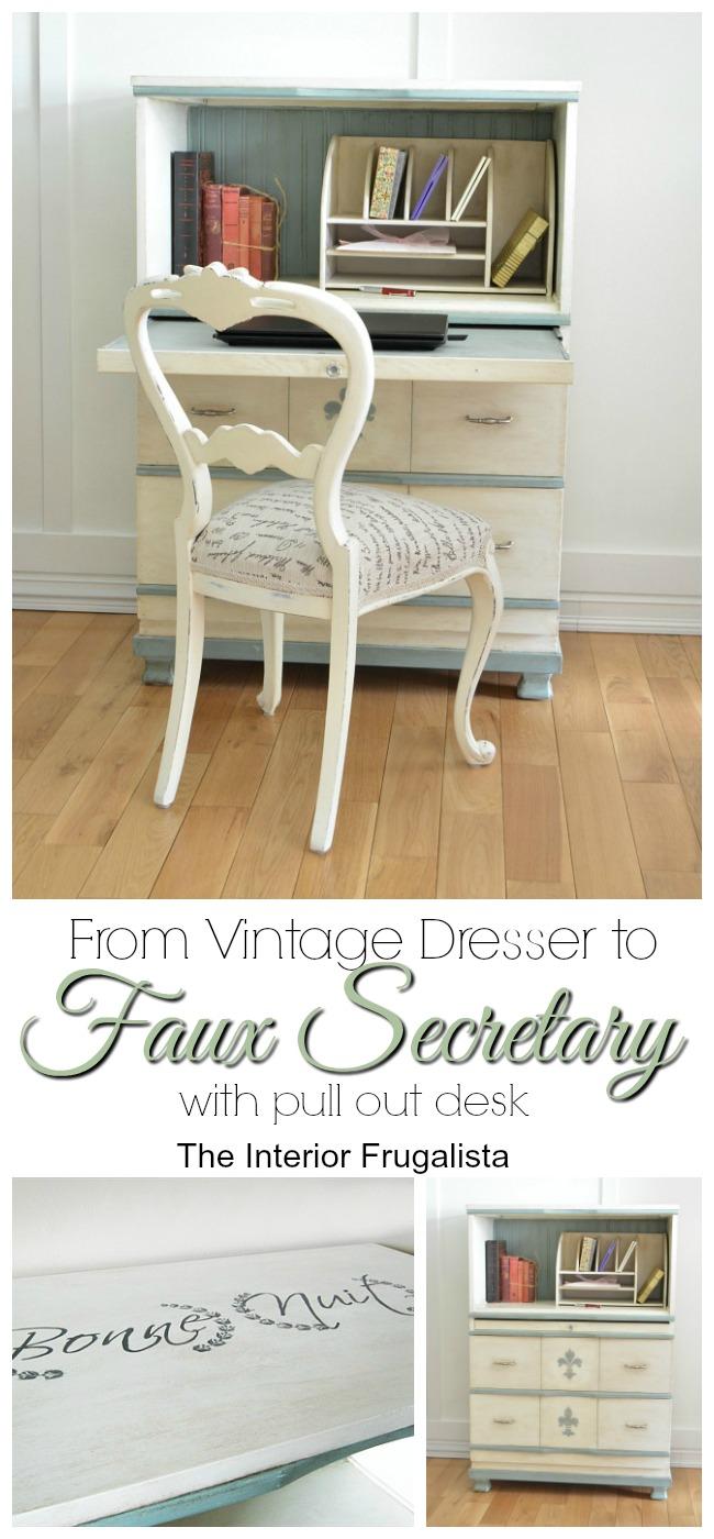 From Vintage Dresser To Faux Secretary Desk