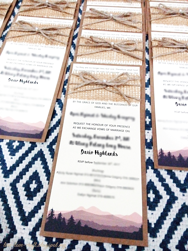 Handmade Rustic + Nature Themed Wedding Invitation Cards