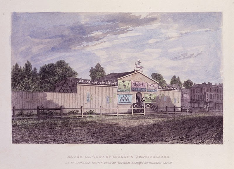 Exterior view (1777) of the Amphitheatre of Astley's circus by Charles John Smith after William Capon