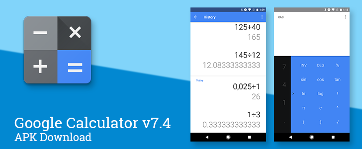 Google Calculator v7 4 switches to blue accent color