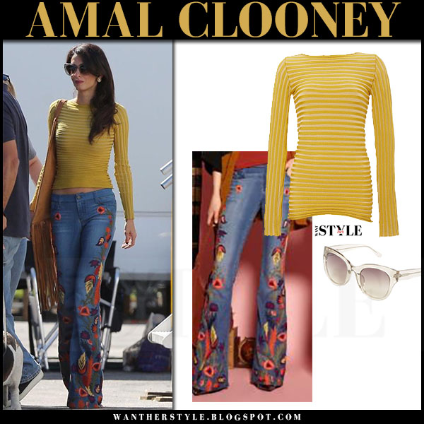 Amal Clooney in mustard yellow pepa pombo top and flared embroidered jeans alice olivia what she wore