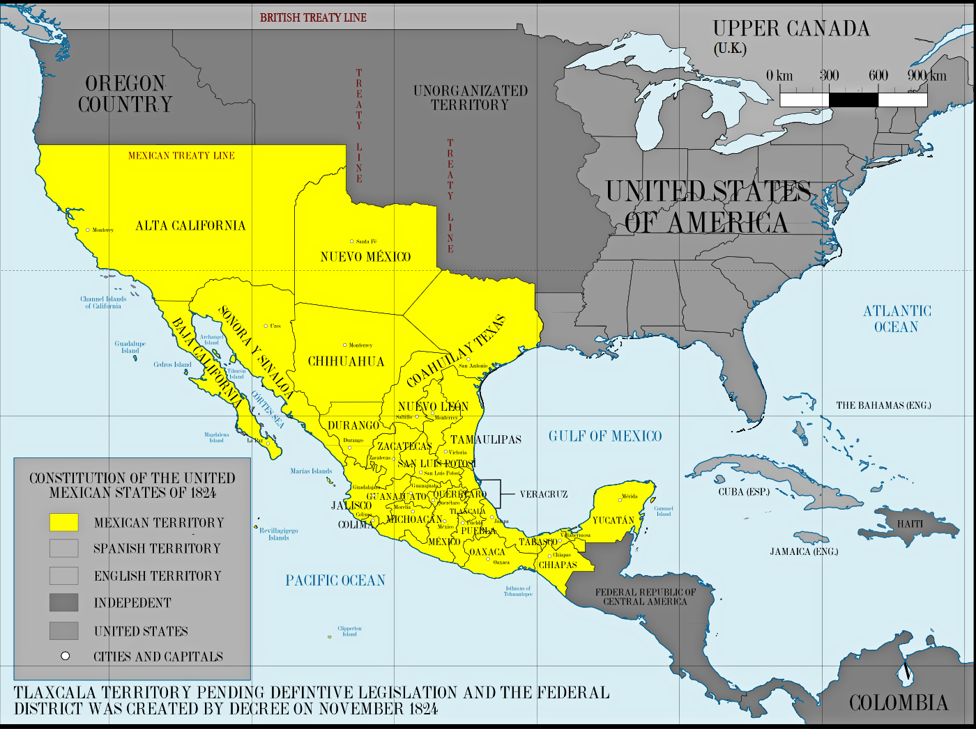 states which had won their freedom from spain and the united states of america as represented in this map of mexico based upon its 1824 constitution