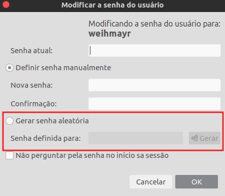 senha do usuario no ubuntu