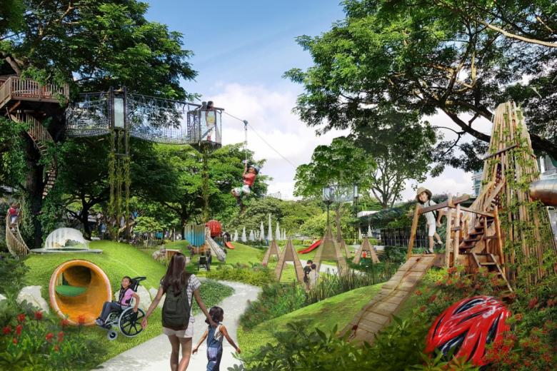 Dhoby Ghaut will be a green zone with family-friendly attractions such as outdoor playgrounds.