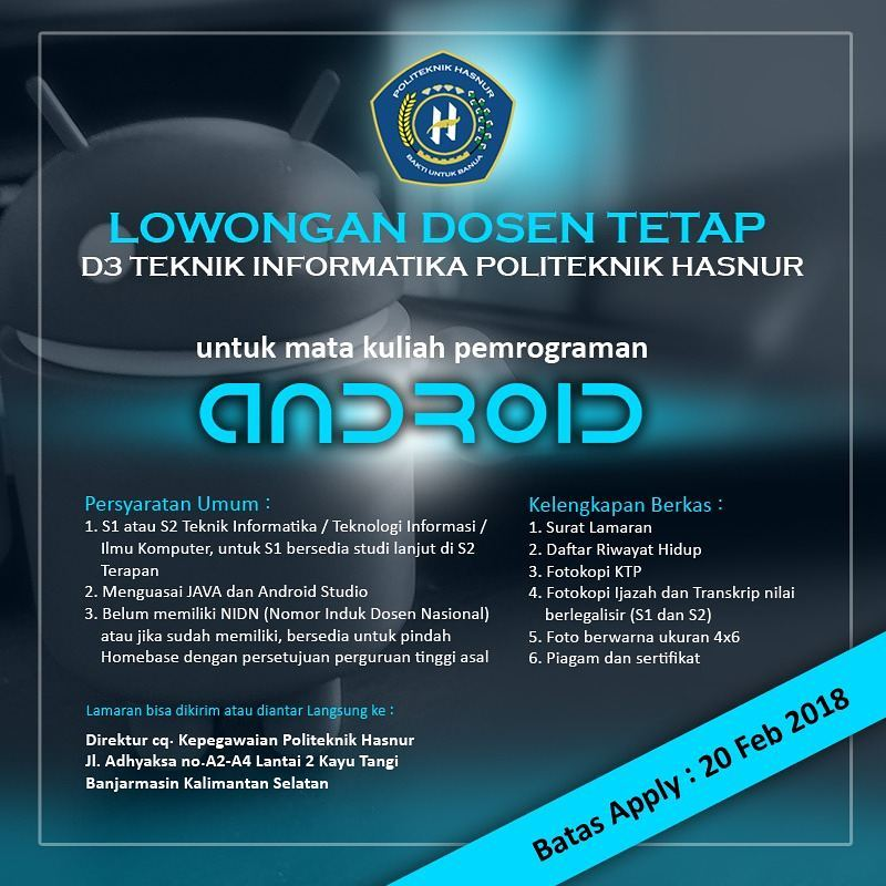 Lowongan Dosen Tetap Teknik Informatika Politeknik Hasnur Banjarmasin