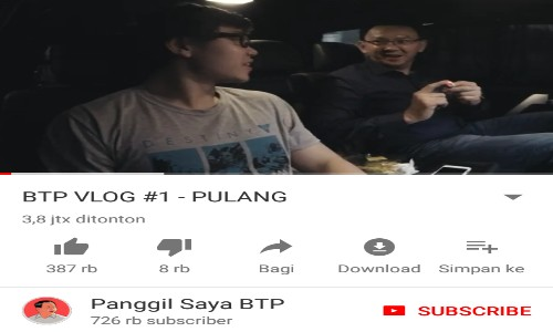 Channel Youtube Ahok