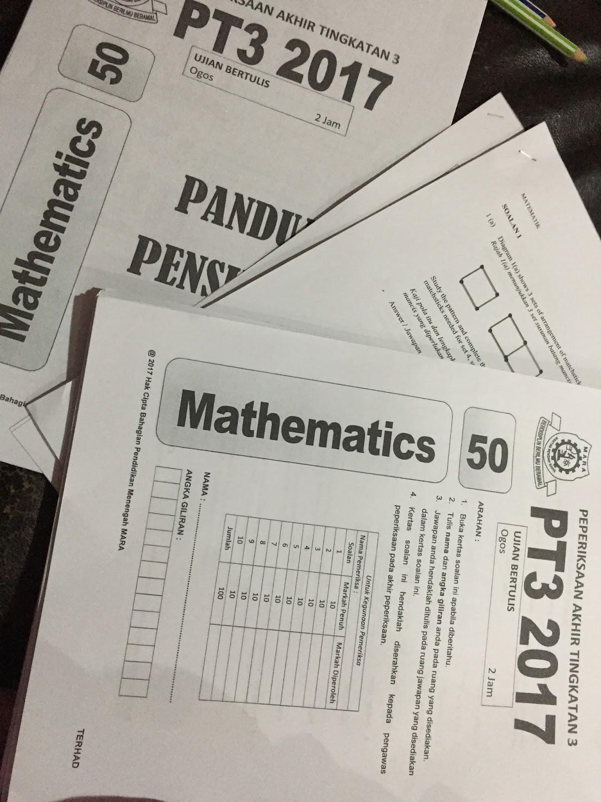 Pecutan Akhir Sebelum Exam - Contoh Soalan Percubaan PT3