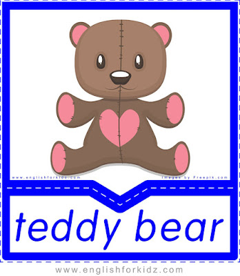 English flashcard, toys vocabulary, teddy bear