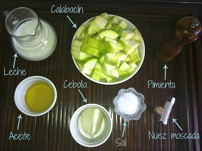 Ingredientes para la bechamel de calabacín