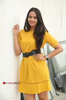 Actress Poojitha Stills in Yellow Short Dress at Darshakudu Movie Teaser Launch .COM 0117.JPG