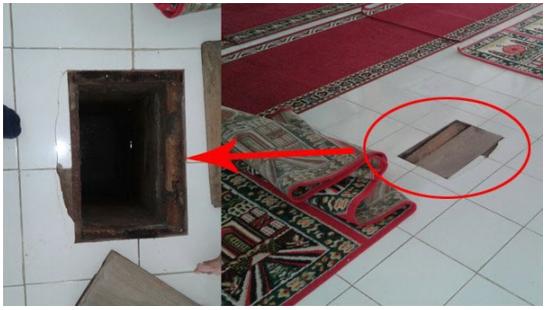 """Mesjid Ini Punya """"Lubang"""" di Lantai yang yang Hanya Ditutup Karpet, Kamu Pasti Syok Saat Lihat Isinya.."""