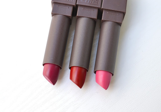 Burt's Bees Lipsticks in Fuchsia Flood, Brimming Berry and Scarlet Soaked with Lip Swatches