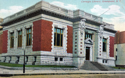Color postcard of original Greenpoint Carnegie Library
