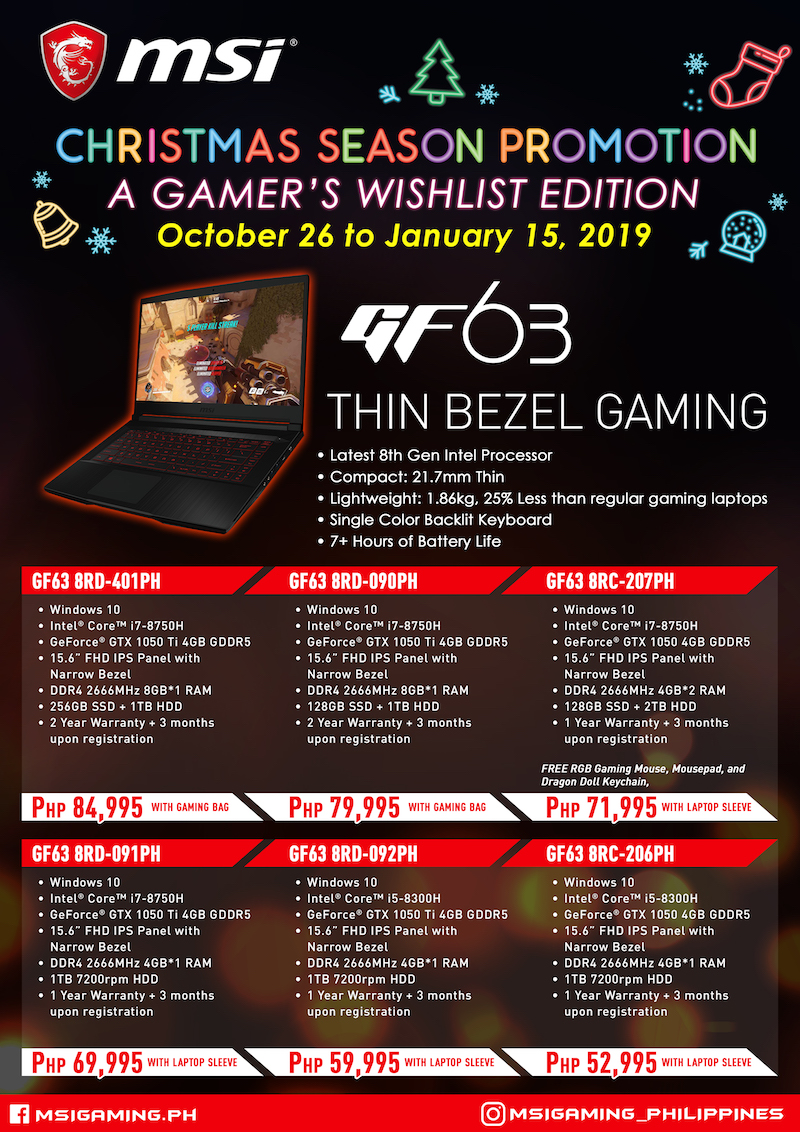 MSI has been giving away gaming laptops amongst freebies since Oct  Sale Alert: MSI Christmas Promotion gives away freebies, starts at PHP 39, 995
