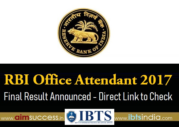 RBI Office Attendant 2017 Final Result