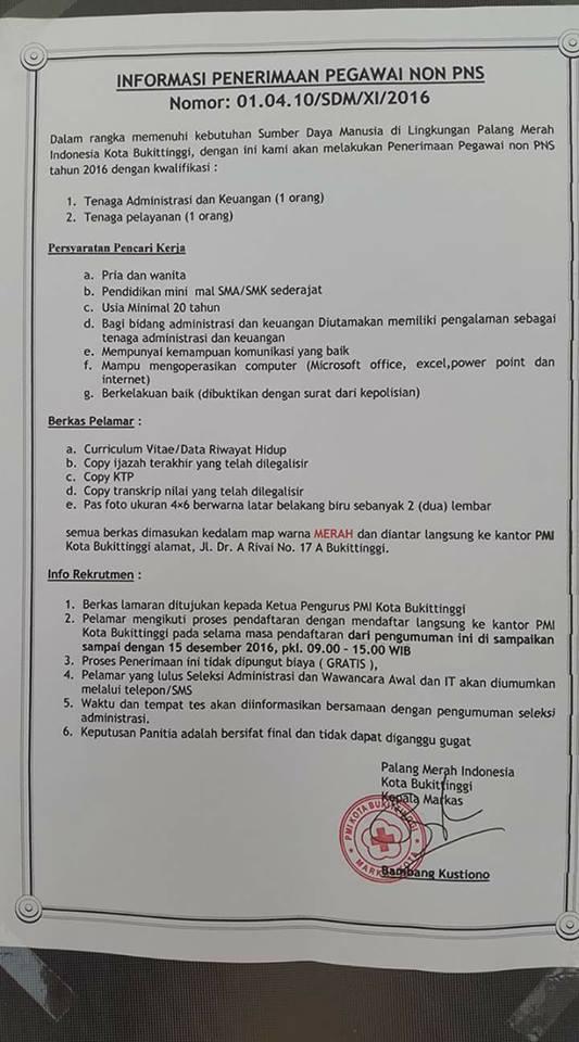 loker Non PNS di Palang Merah Indonesia Kota Bukittinggi