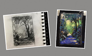 Tonal value sketch and study sketch of a forest landscape