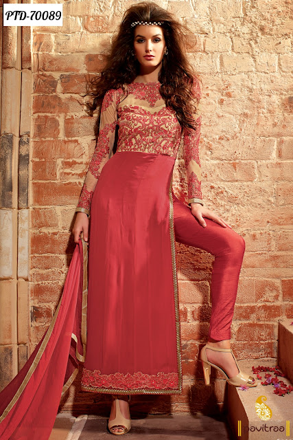 Red Color Buy Online Latest Embroidery Salwar Kameez With Beautiful Craftsmanship