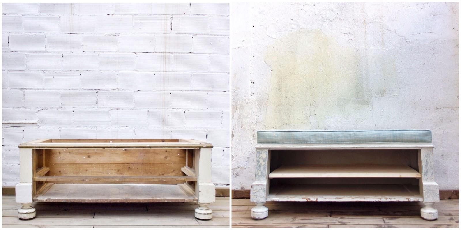 Antes y Después - Parte inferior de un armario transformada en banco