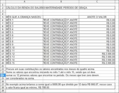 exemplo de cálculo da renda mensal da licença-maternidade