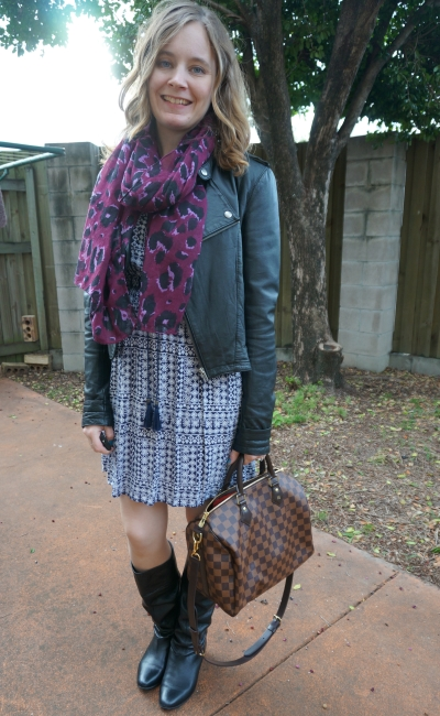 blue boho summer dress layered up for winter purple scarf leather jacket tall boots