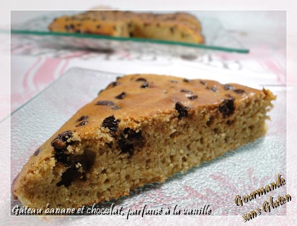 Gâteau banane et chocolat, parfumé à la vanille