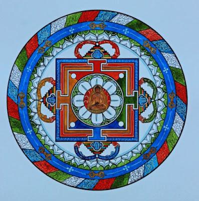 mandala, tibétain, lotus, bouddhisme, centre, bouddha, cercle
