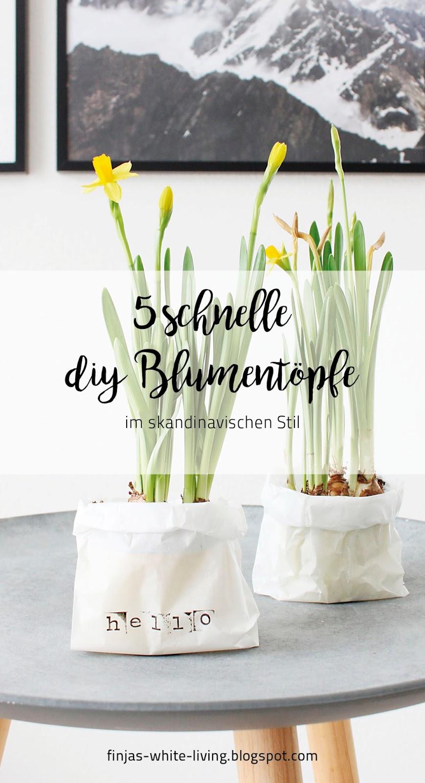 Bastelanleitung für 5 schnelle DIY Blumentöpfe im skandinavischen Stil