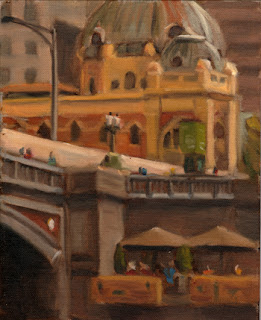 Oil painting of a stone bridge and a Victorian-era copper-domed train station.