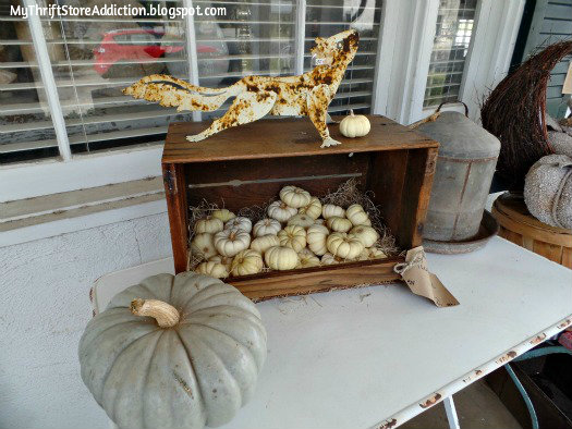 Smitten! mythriftstoreaddiction.blogspot.com Rusty squirell and mini pumpkins on front porch