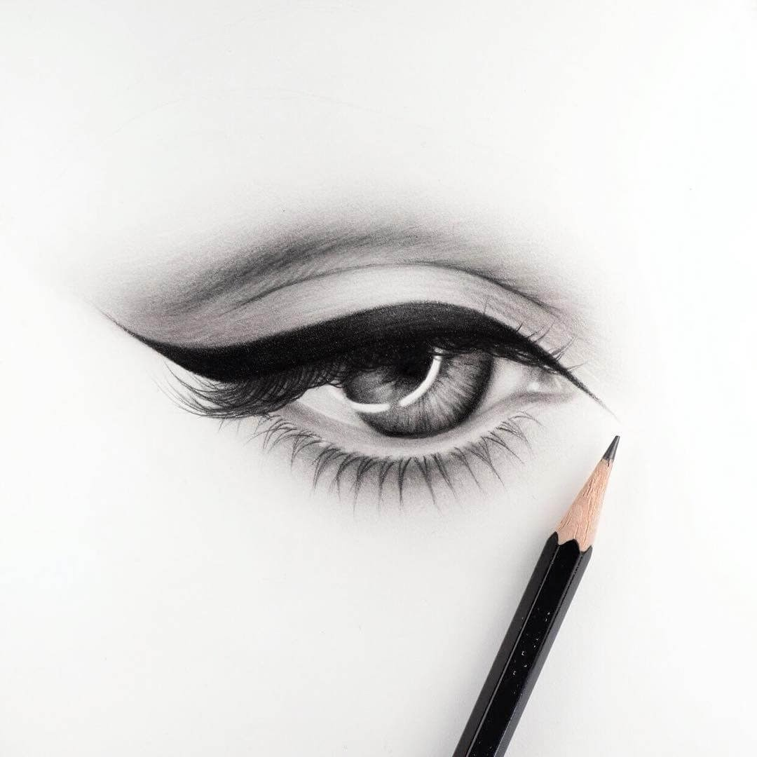 06-Eye-Makeup-Silvie-Mahdal-Realistic-Anatomical-Detailed-Portraits-www-designstack-co