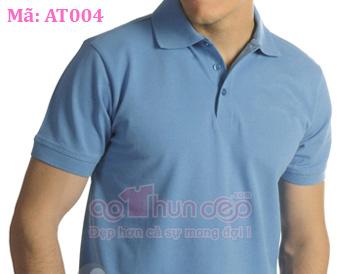 Áo thun đồng phục kiểu áo Polo trơn màu xanh AT004