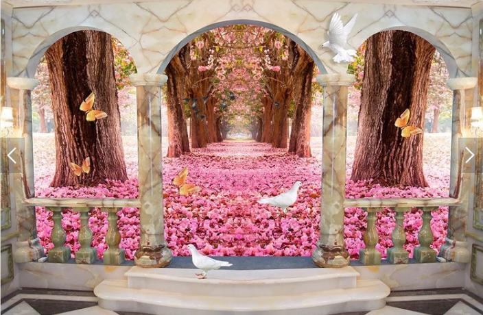 Tranh 3d dán tường hoa anh đào phòng khách đẹp