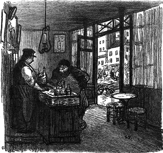 a Theophile-Alexandre Steinlen drawing of a tavern interior