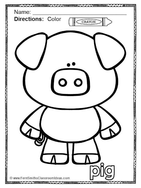Fern Smith's Classroom Ideas - Freebie Friday Color for Fun Short Vowels Pig - Little Piggie sample page at TeacherspayTeachers.