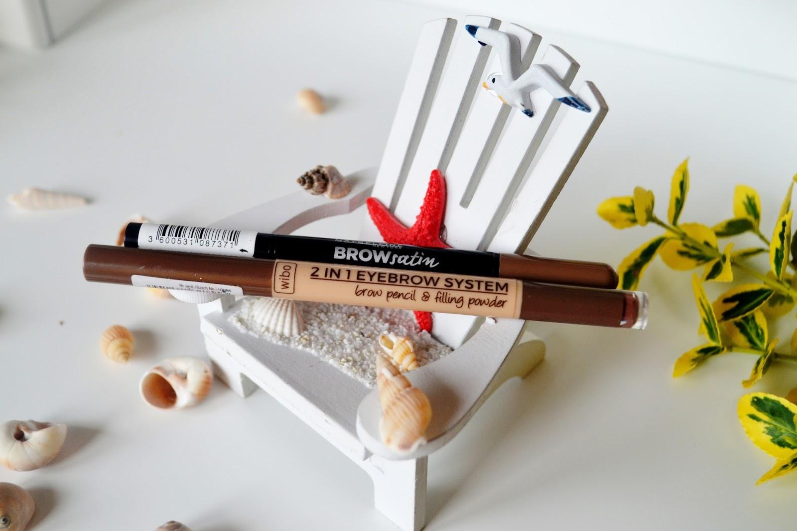 Maybelline BROW SATIN dark blonde & Wibo 2w1 eyebrow system - porównanie drogeryjnych kredek do brwi, zawierających gąbeczkę z cieniem