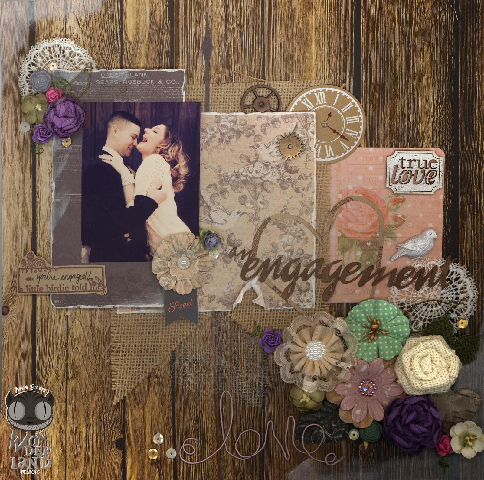 An Engagement | A Scrapbook Layout by Alice Scraps Wonderland