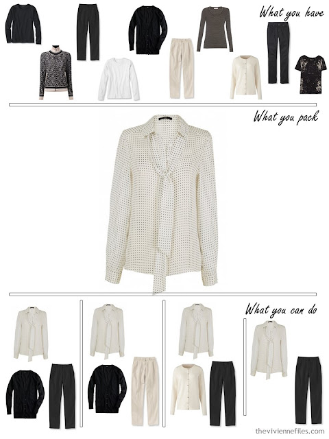 adding a silk blouse to a black, white and beige travel capsule wardrobe