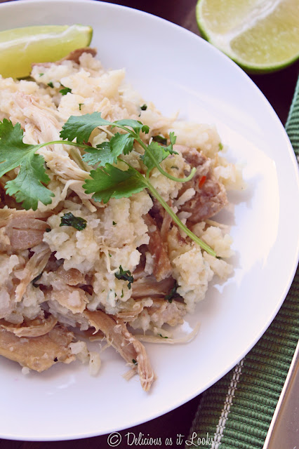 Low-FODMAP Slow Cooker Cilantro-Lime Chicken Thighs and Rice  /  Delicious as it Looks